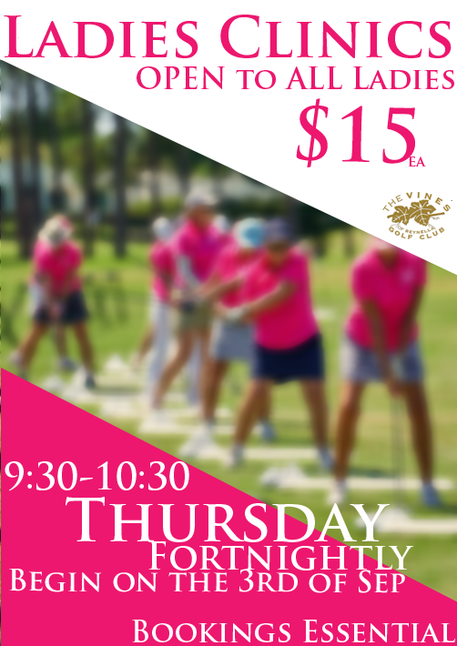 ladies learn to play golf clinics at the Vines Golf Club
